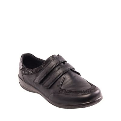 Padders - Black leather 'Caitlin' wide fit shoe