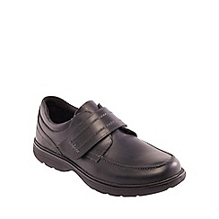 Padders - Black leather 'Dorset' wide fit shoes
