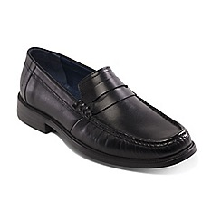 Padders - Black leather 'Baron' wide fit slip on shoes