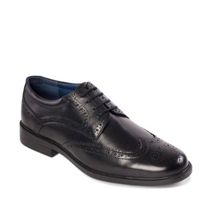 Padders - Black leather 'Berkeley' wide fit shoes