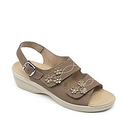 Padders - Taupe leather 'Bluebell' mid heel wide fit sandals
