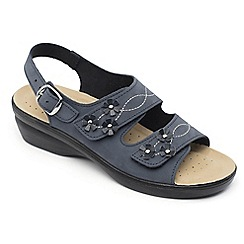 Padders - Navy leather 'Bluebell' mid heel wide fit sandals