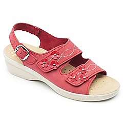 Padders - Red leather 'Bluebell' mid heel wide fit sandals