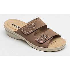 Padders - Taupe leather 'Dhalia' mid heel wide fit sandals