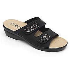 Padders - Black leather 'Dhalia' mid heel wide fit sandals