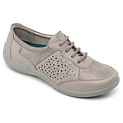 Padders - Grey leather 'Harp' wide fit shoes