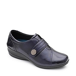 Padders - Navy leather 'Simone 3' mid heel wide fit shoes