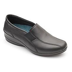 Padders - Black leather 'skye 2' mid heel wide fit shoes