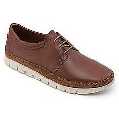 Padders - Tan leather 'Travel' wide fit shoes