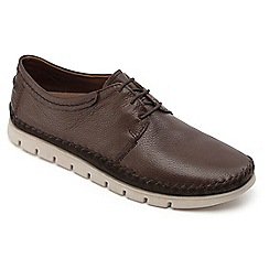 Padders - Dark brown leather 'travel' wide fit shoes