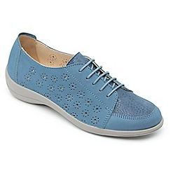 Padders - Light blue leather 'Ramone' wide fit shoes