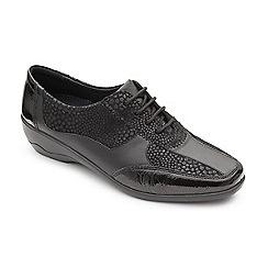 Padders - Black leather 'Quartz' mid heel wide fit shoes