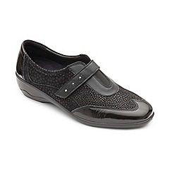 Padders - Black leather 'Topaz' mid heel wide fit shoes