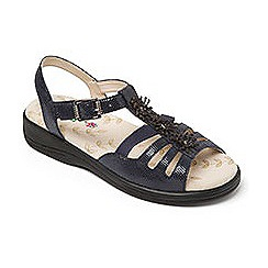 Padders - Navy leather 'Sunrise' wide fit sandals