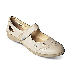 Padders - Beige leather 'Rainbow' wide fit shoes