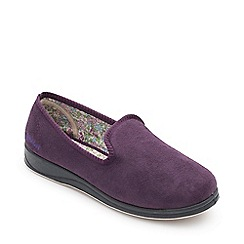 Padders - Purple 'repose' wide fit slippers