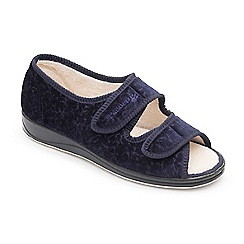 Padders - Navy 'Lydia' wide fit slippers