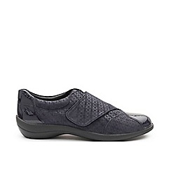 Padders - Navy leather 'Rose' wide fit shoes