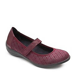 Padders - Plum leather 'Robyn' wide fit shoes