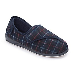 Padders - Navy 'Phillip' wide fit slippers