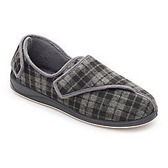 Padders - Grey 'Phillip' wide fit slippers