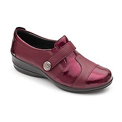 Padders - Plum leather 'Endure' mid heel wide fit shoes
