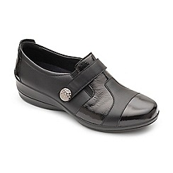 Padders - Black leather 'Endure' mid heel wide fit shoes