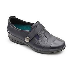 Padders - Navy leather 'Endure' mid heel wide fit shoes