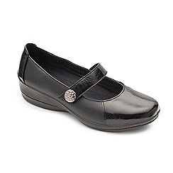 Padders - Black leather 'Past' mid heel wide fit shoes