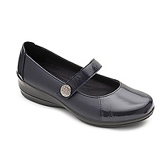 Padders - Navy leather 'Past' mid heel wide fit shoes