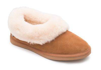 Padders   Camel Leather 'cuddle' Wide Fit Slippers by Padders