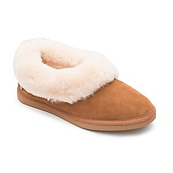 Padders - Camel leather 'Cuddle' wide fit slippers