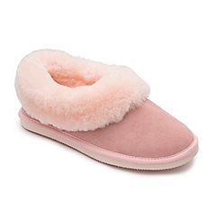 Padders - Pink leather 'Cuddle' wide fit slippers