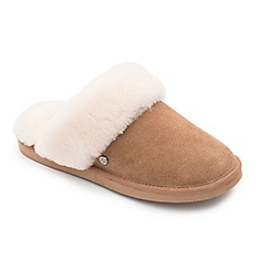 Padders - Camel leather 'Cosy' wide fit mules