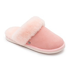 Padders - Pink leather 'Cosy' wide fit mules