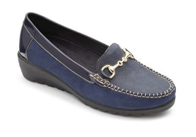 Padders - Navy leather 'Georgina' shoes mid heel wide fit shoes 'Georgina' c0f47d