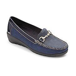 Padders - Navy leather 'Georgina' mid heel wide fit shoes