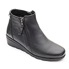 Padders - Black leather 'Willow' mid heel wide fit boots