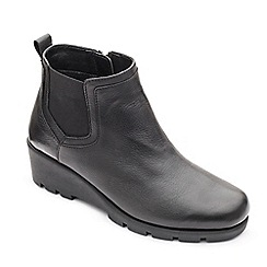 Padders - Black leather 'Lark' mid heel wide fit boots