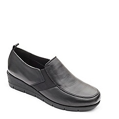 Padders - Black leather 'Nova' mid heel wide fit shoes