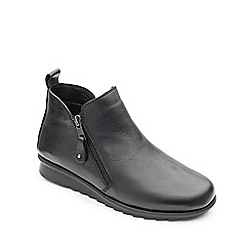 Padders - Black leather 'Berry' mid heel wide fit boots
