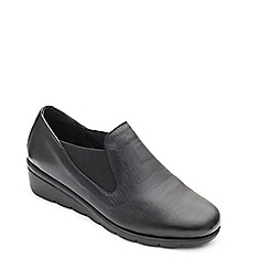 Padders - Black leather 'Dawn' mid heel wide fit shoes