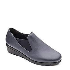 Padders - Navy leather 'Dawn' mid heel wide fit shoes