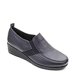 Padders - Navy leather 'Nova' mid heel wide fit shoes