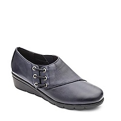 Padders - Navy leather 'Birch' mid heel wide fit shoes