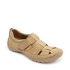 Padders - Beige leather 'Anchor' wide fit sandals