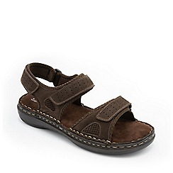 Padders - Brown leather 'Mast' wide fit sandals