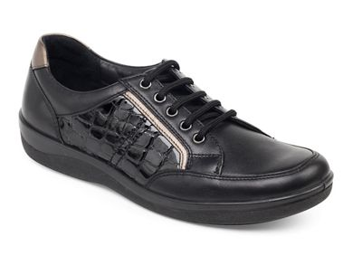 Padders - Black 'Atom' wide fit lace up shoes