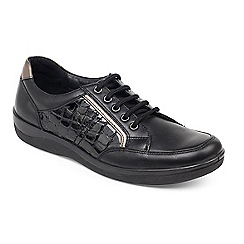 Padders - Black Atom' wide fit lace up shoes