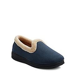 Padders - Navy 'Repose' womens memory foam slippers